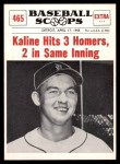 1961 Nu-Card Scoops #465   -   Al Kaline  Kaline Hits 3 Homers in One Game Front Thumbnail