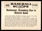 1961 Nu-Card Scoops #446   -   Hal Newhouser  Tigers Beat Out Senators for Pennant Back Thumbnail