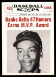 1961 Nu-Card Scoops #420   -   Ernie Banks  Banks Belts 47 Homers, Earns MVP Honors Front Thumbnail