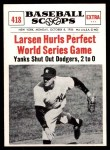 1961 Nu-Card Scoops #418   -   Don Larsen  Larsen Hurls Perfect World Series Game Front Thumbnail
