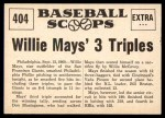 1961 Nu-Card Scoops #404   -   Willie Mays Mays 3 Triples Paces Giants Back Thumbnail