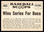 1961 Nu-Card Scoops #403   -   Bill Mazeroski  Mazeroski Homer Wins Series for Bucs Back Thumbnail