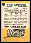 1967 Topps #5   Tommy Addison  Back Thumbnail