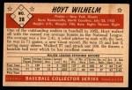 1953 Bowman B&W #28  Hoyt Wilhelm  Back Thumbnail