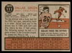 1962 Topps #111 NRM Dallas Green  Back Thumbnail