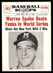 1961 Nu-Card Scoops #463   -  Warren Spahn Spahn Beats Yanks in World Series Front Thumbnail