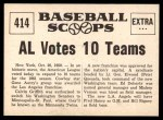 1961 Nu-Card Scoops #414   -   Gene Autry AL Votes to Expand to 10 Teams Back Thumbnail