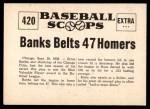 1961 Nu-Card Scoops #420   -   Ernie Banks  Banks Belts 47 Homers, Earns MVP Honors Back Thumbnail