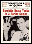 1961 Nu-Card Scoops #435   -   Lew Burdette Burdette Beats Yanks in 3 Series Games Front Thumbnail