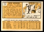 1963 Topps #124  Dick Howser  Back Thumbnail
