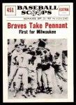 1961 Nu-Card Scoops #451   Braves Take Pennant Front Thumbnail