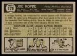 1961 Topps #179  Joe Koppe  Back Thumbnail