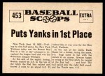 1961 Nu-Card Scoops #453   -   Yogi Berra  Homer By Berra Puts Yanks in 1st Place Back Thumbnail