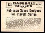 1961 Nu-Card Scoops #428   -   Jackie Robinson  Robinson Saves Dodgers for Playoffs Back Thumbnail