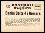 1961 Nu-Card Scoops #420   -   Ernie Banks  Banks Belts 47 Homers, Earns MVP Honors Back Thumbnail