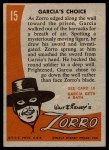 1958 Topps Zorro #15   Garcias Choice Back Thumbnail