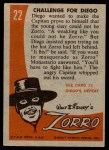 1958 Topps Zorro #22   Challenge For Diego Back Thumbnail