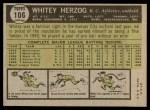 1961 Topps #106  Whitey Herzog  Back Thumbnail