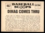 1961 Nu-Card Scoops #467   -   Joe DiMaggio Dimag Comes Thru Back Thumbnail