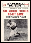 1961 Nu-Card Scoops #470   -   Sal Maglie  Sal Maglie Pitches No-Hit Game Front Thumbnail