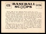 1961 Nu-Card Scoops #476   -   Dizzy Dean / Daffy Dean Dizzy And Daffy Win Series Back Thumbnail