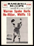 1961 Nu-Card Scoops #402   -   Warren Spahn Warren Spahn Hurls No-Hitter, Whiffs 15 Front Thumbnail