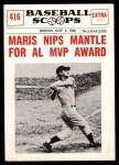 1961 Nu-Card Scoops #416   -   Roger Maris  Maris Nips Mantle for AL MVP Award Front Thumbnail