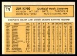 1963 Topps #176  Jim King  Back Thumbnail