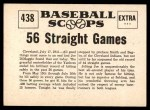 1961 Nu-Card Scoops #438   -   Joe DiMaggio Joe Dimaggio Hits in 56 Straight Games Back Thumbnail