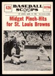 1961 Nu-Card Scoops #426   -  Eddie Gaedel Midget Pinch-Hits for St Louis Browns Front Thumbnail