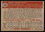 1952 Topps #304  Sam Dente  Back Thumbnail