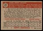 1952 Topps #271  Jim Delsing  Back Thumbnail