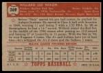 1952 Topps #269  Willard Nixon  Back Thumbnail