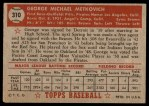 1952 Topps #310  George Metkovich  Back Thumbnail