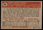 1952 Topps #290  Joe Astroth  Back Thumbnail