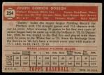 1952 Topps #254  Joe Dobson  Back Thumbnail