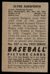 1952 Bowman #227  Clyde Sukeforth  Back Thumbnail