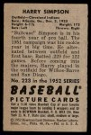 1952 Bowman #223  Harry Simpson  Back Thumbnail