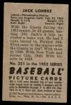 1952 Bowman #251  Jack Lohrke  Back Thumbnail