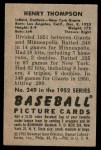 1952 Bowman #249  Hank Thompson  Back Thumbnail