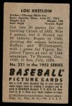 1952 Bowman #221  Lou Kretlow  Back Thumbnail