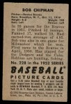 1952 Bowman #228  Bob Chipman  Back Thumbnail