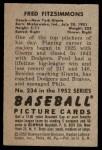 1952 Bowman #234  Fred Fitzsimmons  Back Thumbnail