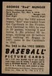 1952 Bowman #243  Red Munger  Back Thumbnail