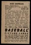 1952 Bowman #228  Bob Chipman  Back Thumbnail