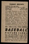 1952 Bowman #236  Tom Brown  Back Thumbnail