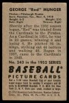 1952 Bowman #243  Red Munger  Back Thumbnail