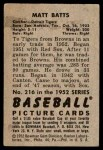 1952 Bowman #216  Matt Batts  Back Thumbnail