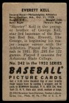 1952 Bowman #242  Everett Kell  Back Thumbnail