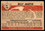 1953 Bowman #118  Billy Martin  Back Thumbnail